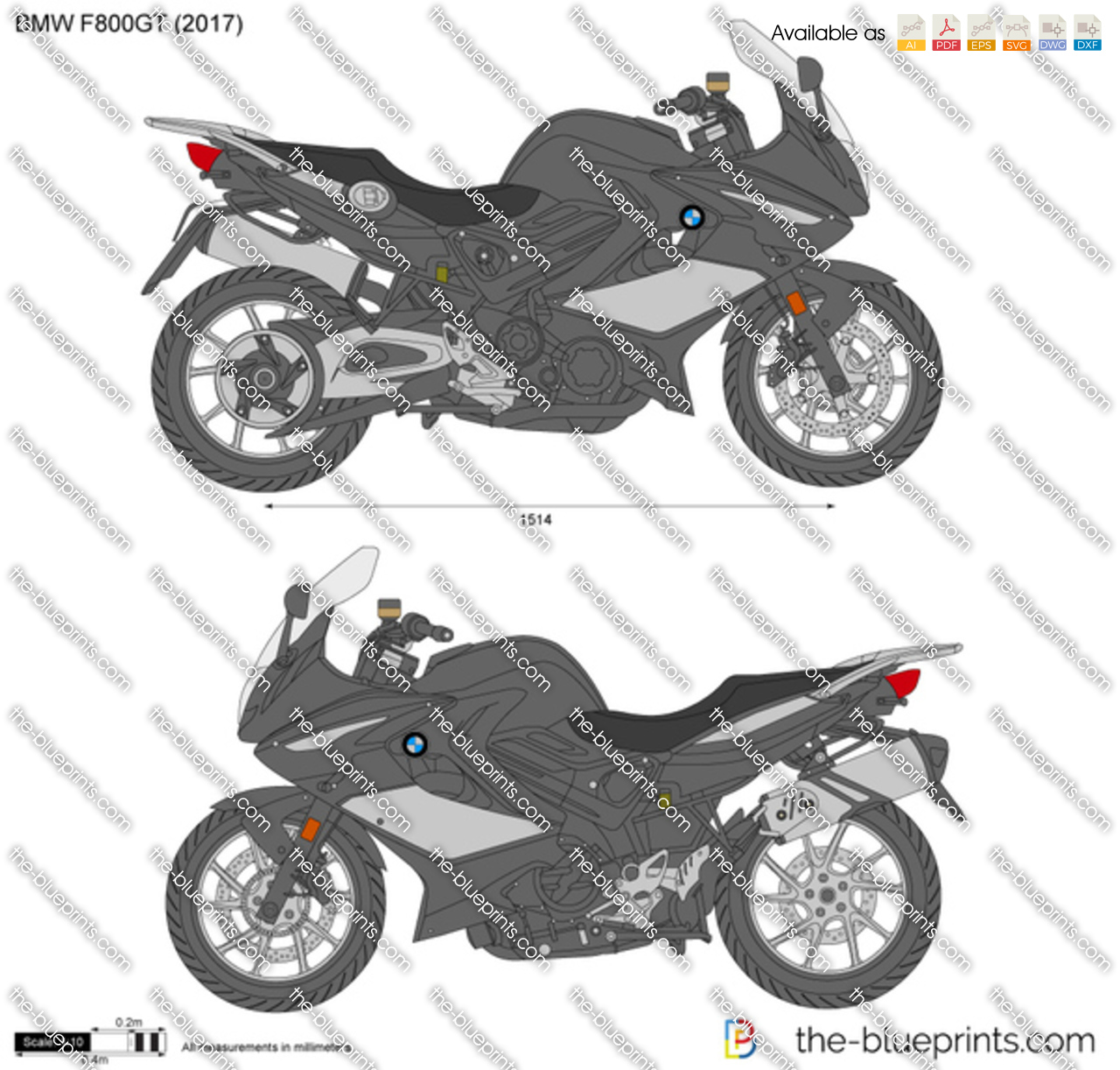 Bmw F800gt Vector Drawing