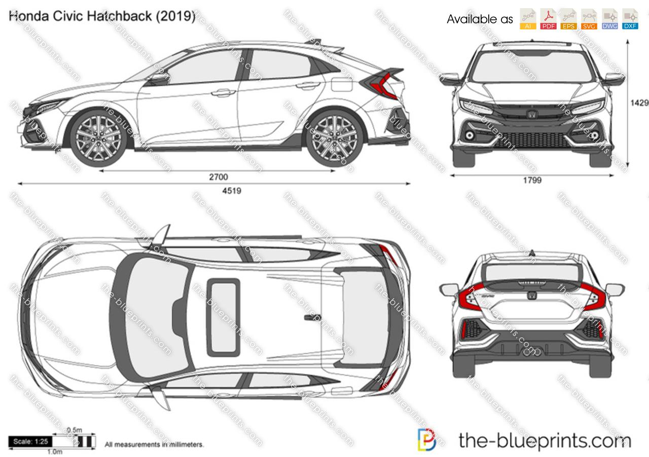 Honda Civic Dimensions >> Honda Civic Hatchback Vector Drawing