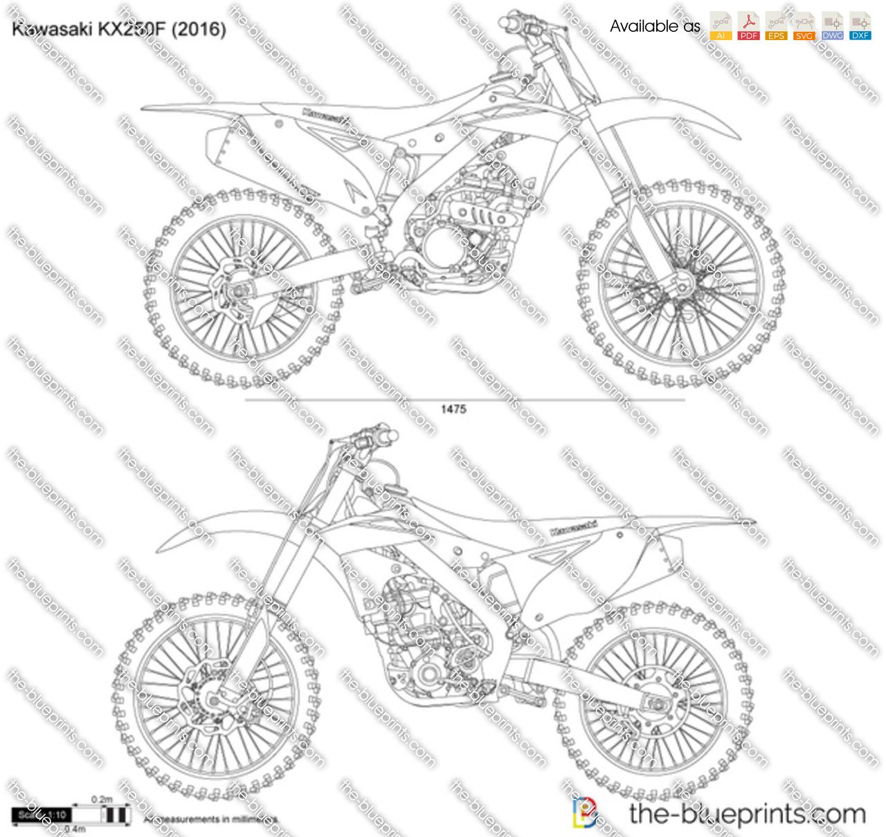 Kawasaki KX250F vector drawing