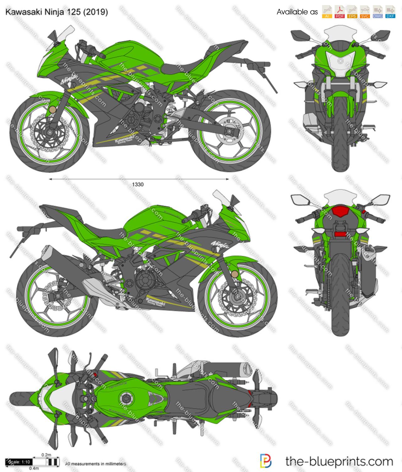 Kawasaki Ninja 125 Vector Drawing