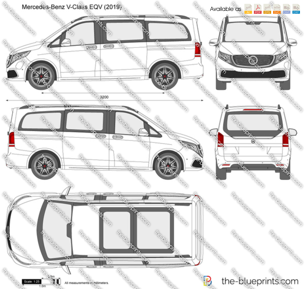 Mercedes-Benz V-Class EQV Vector Drawing