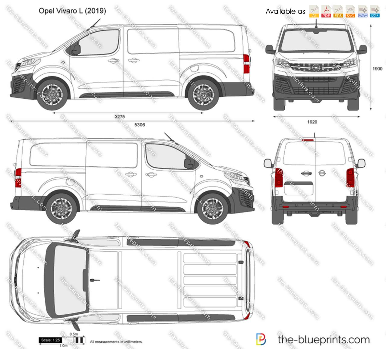 Opel Vivaro L Vector Drawing