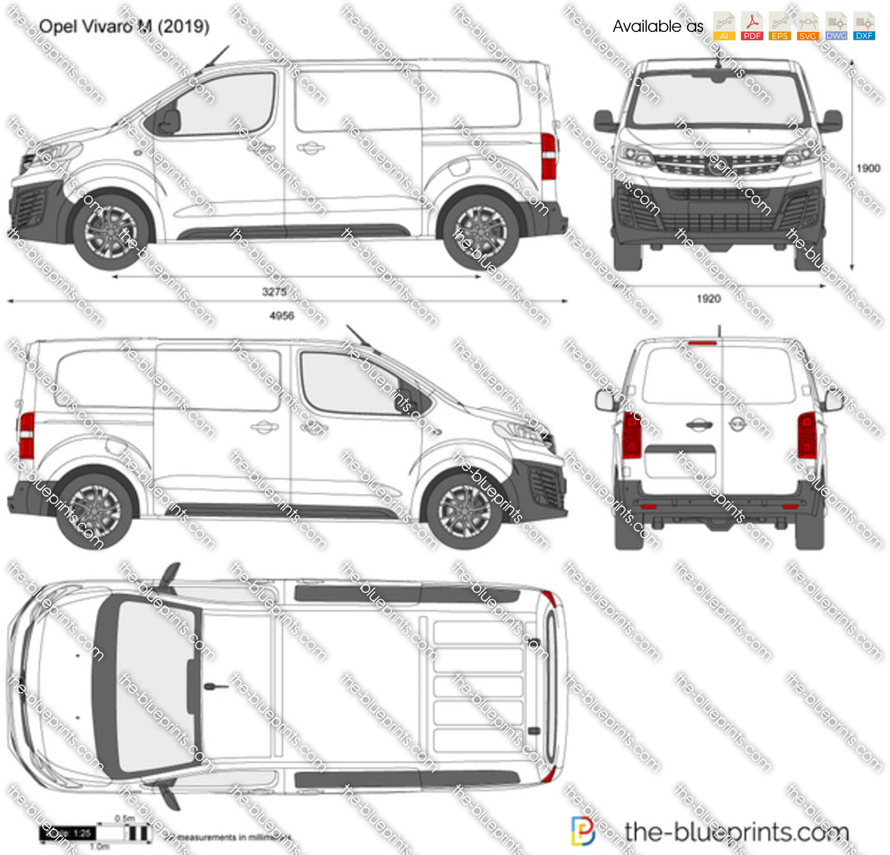 Opel Vivaro M Vector Drawing