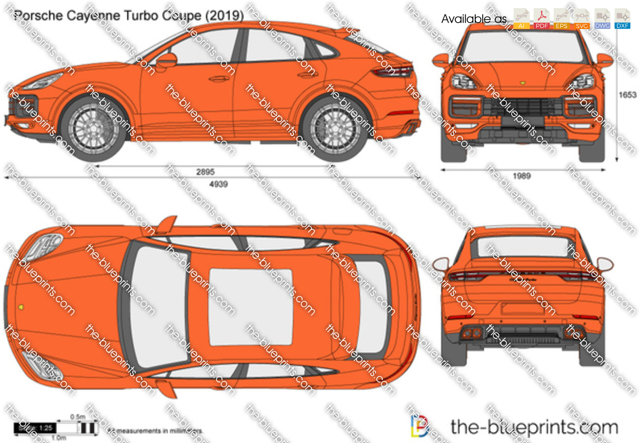 Porsche Cayenne Turbo Coupe Vector Drawing
