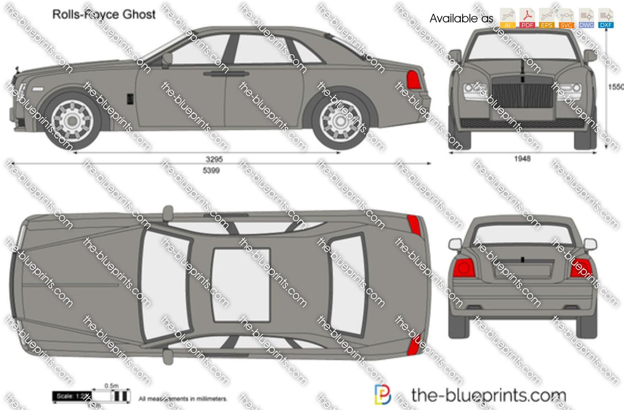 Rolls Royce Ghost Vector Drawing