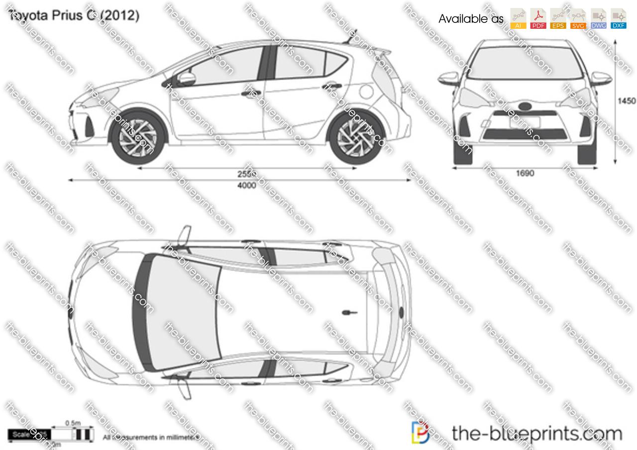 Toyota Prius C Vector Drawing