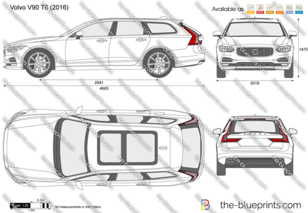 volvo v90 t6 vector drawing