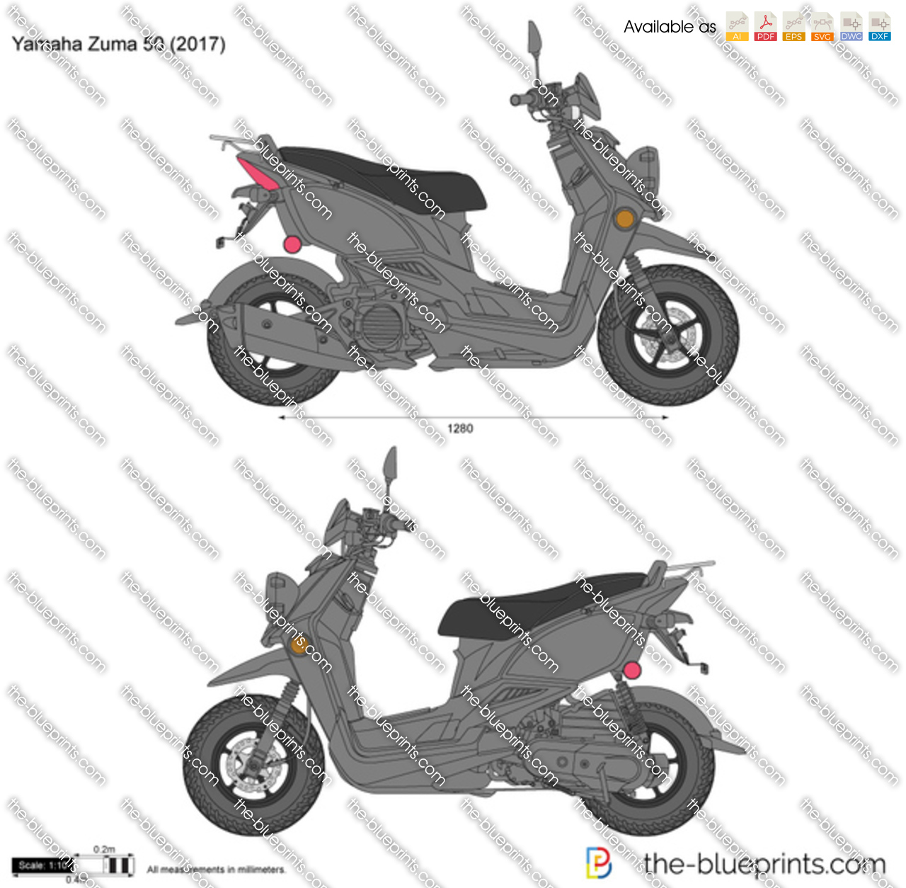 Yamaha Zuma 50 vector drawing