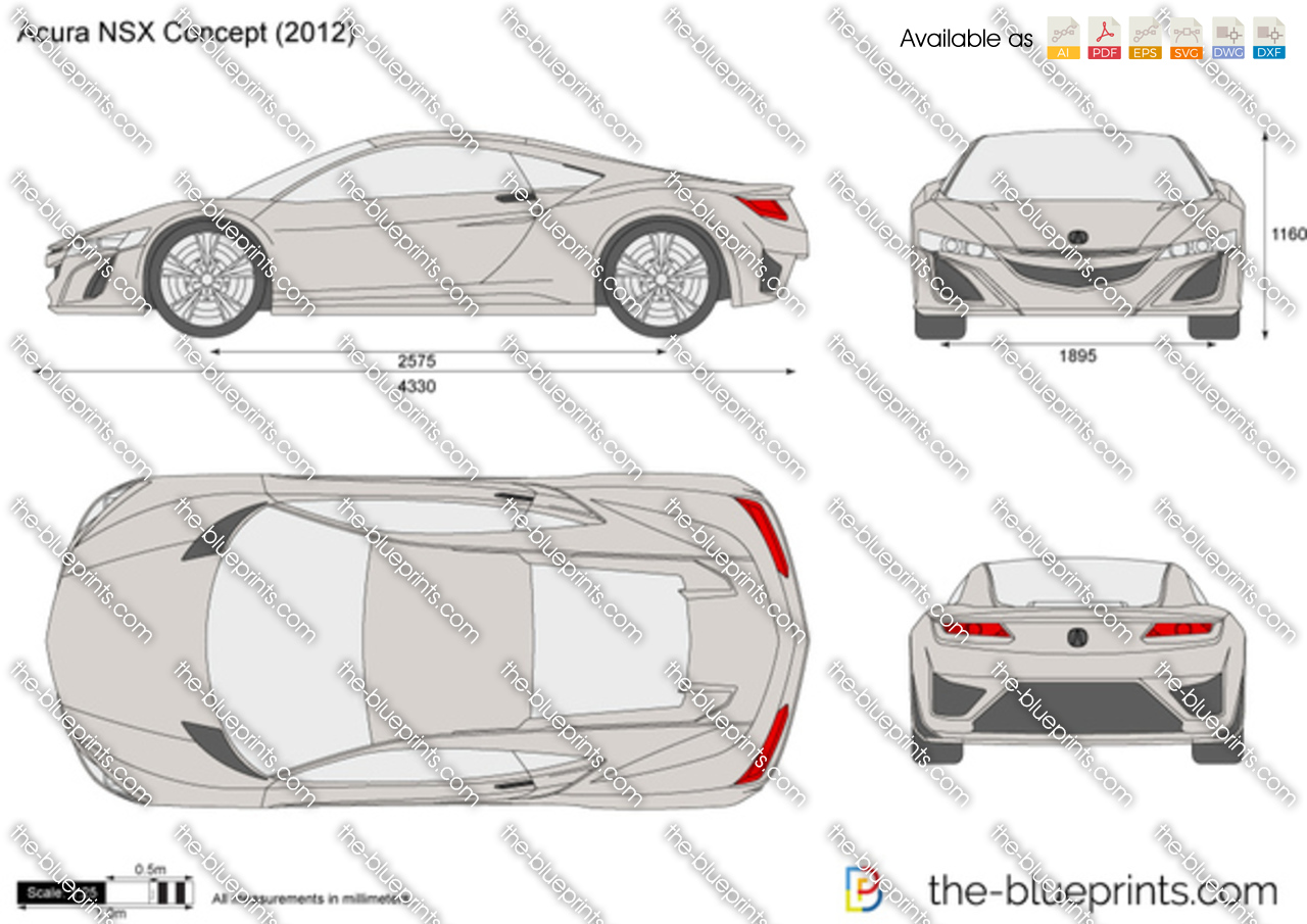 The-Blueprints.com - Vector Drawing - Acura NSX Concept