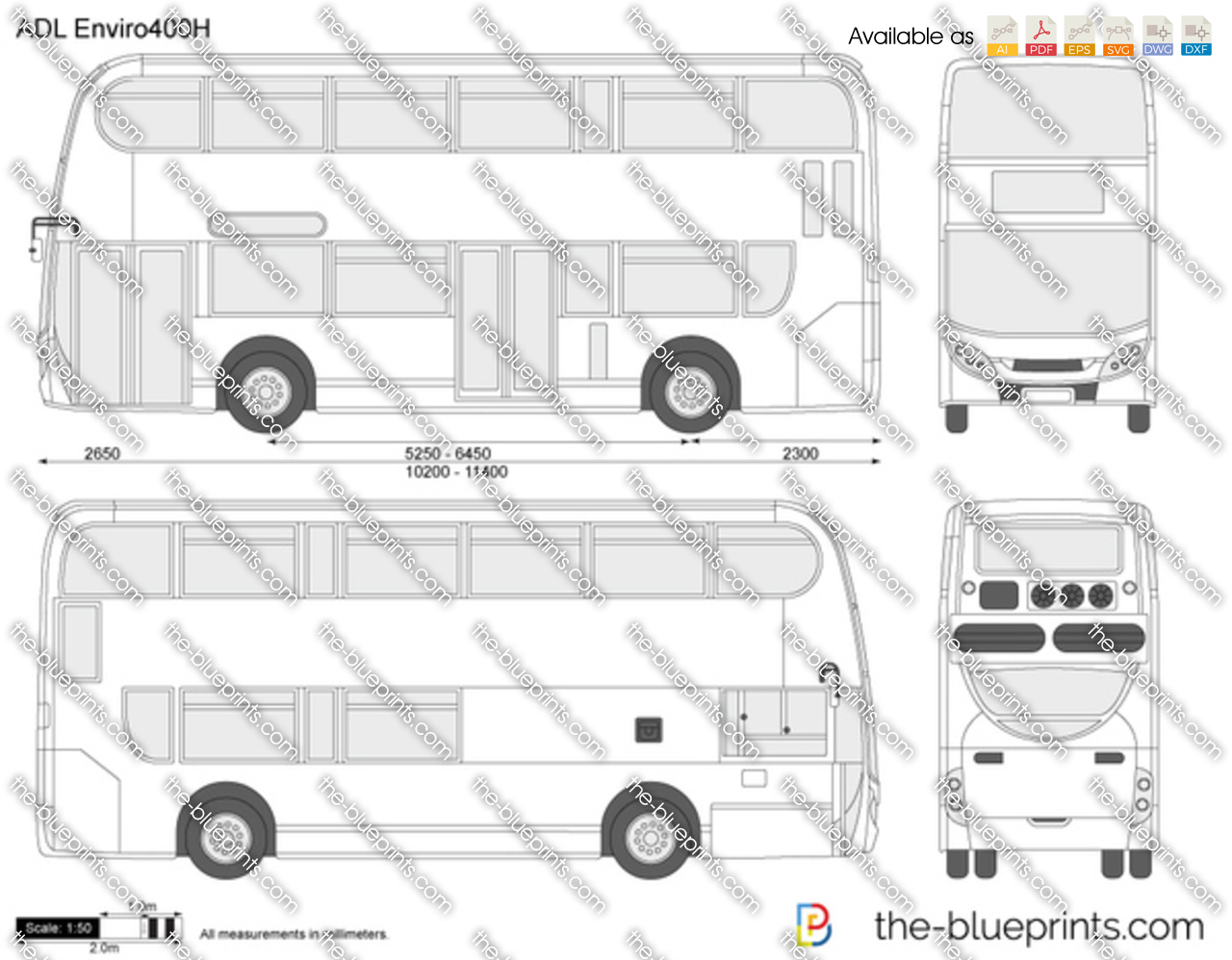 Ford Transit Wagon >> The-Blueprints.com - Vector Drawing - ADL Enviro400H