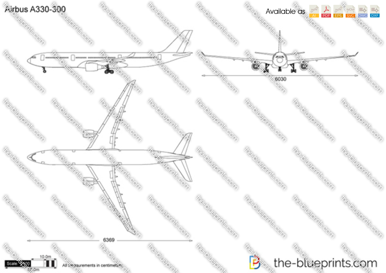 Airbus A330 300 Vector Drawing