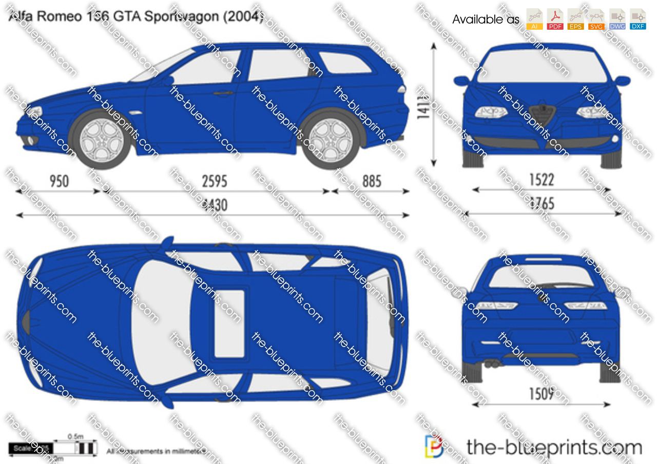 alfa romeo 156 gta sportwagon vector drawing