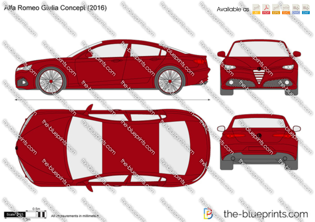 alfa romeo giulia concept vector drawing. Black Bedroom Furniture Sets. Home Design Ideas