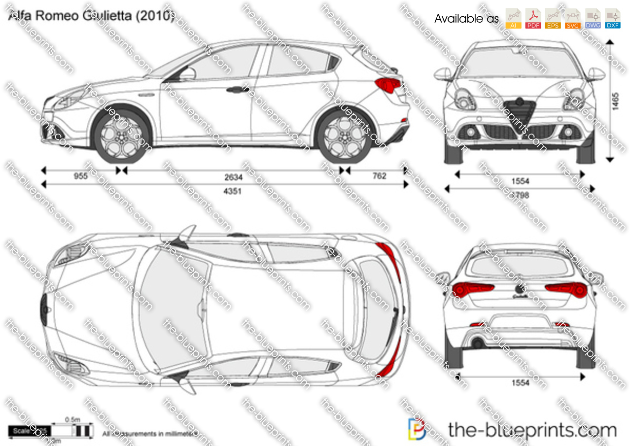 alfa romeo giulietta vector drawing