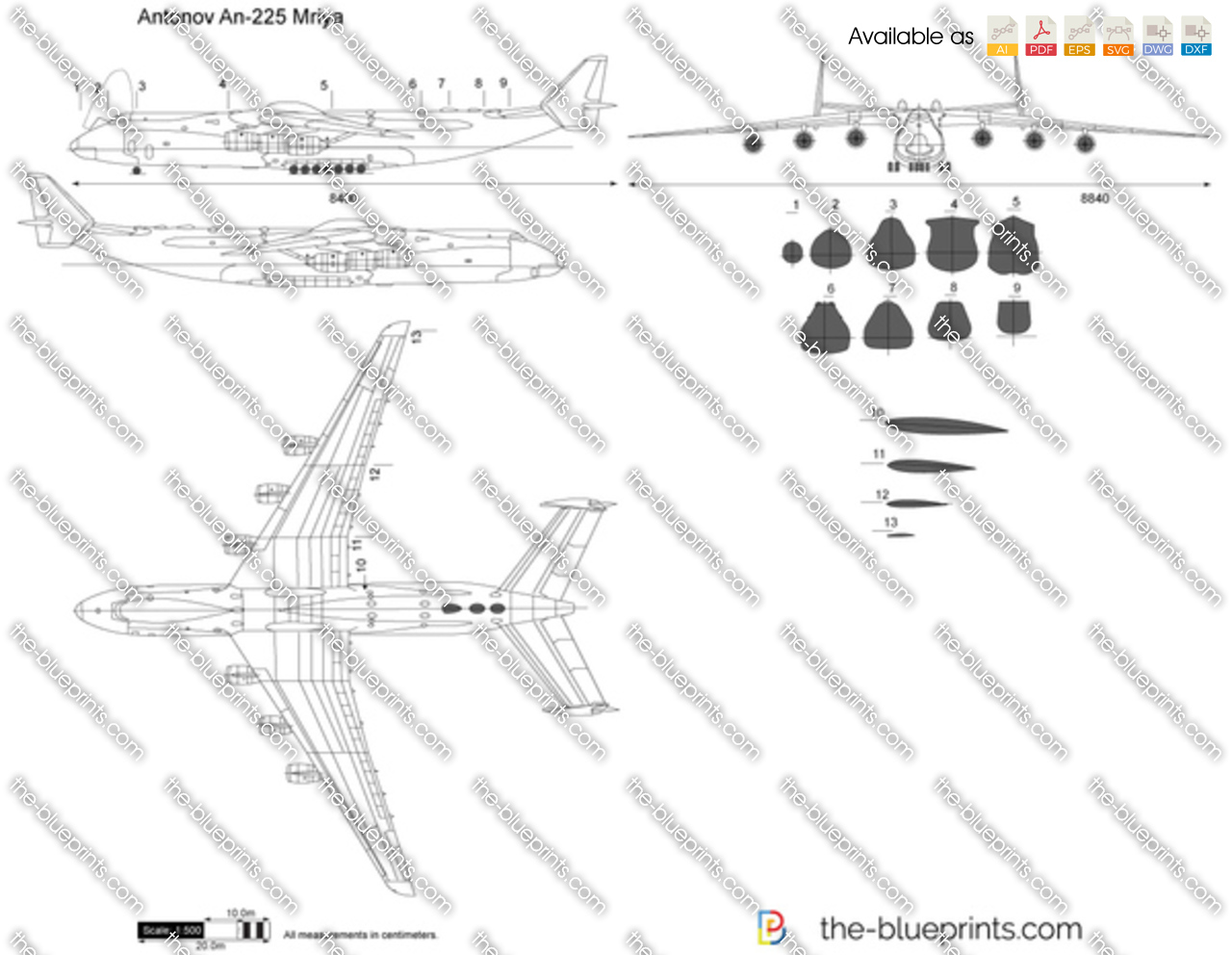 Antonov an 225 mriya vector drawing antonov an 225 mriya malvernweather Choice Image