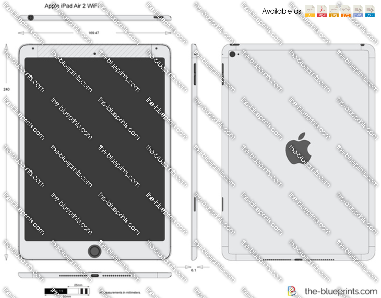 Apple ipad air 2 wifi vector drawing apple ipad air 2 wifi malvernweather Image collections