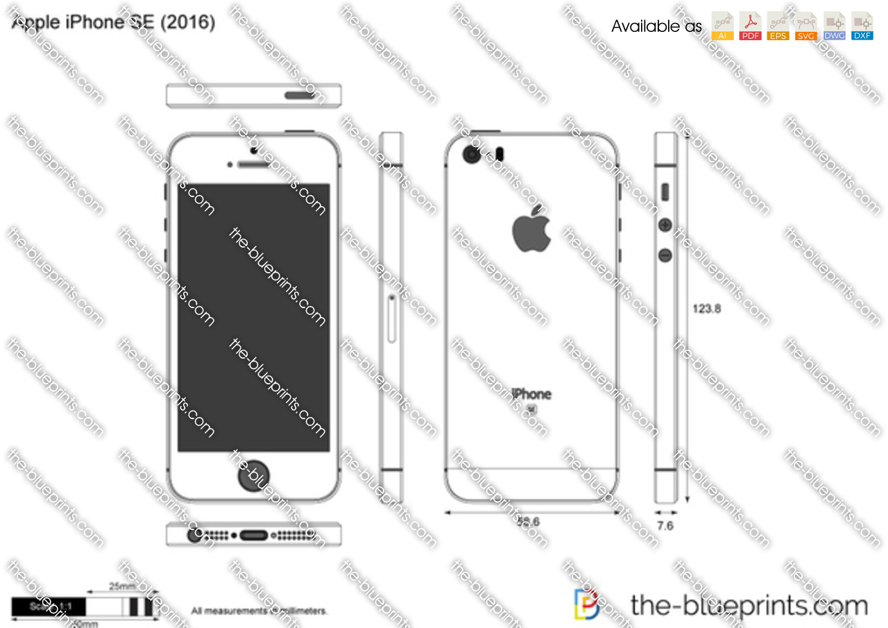 The vector drawing apple iphone se for Where to get blueprints