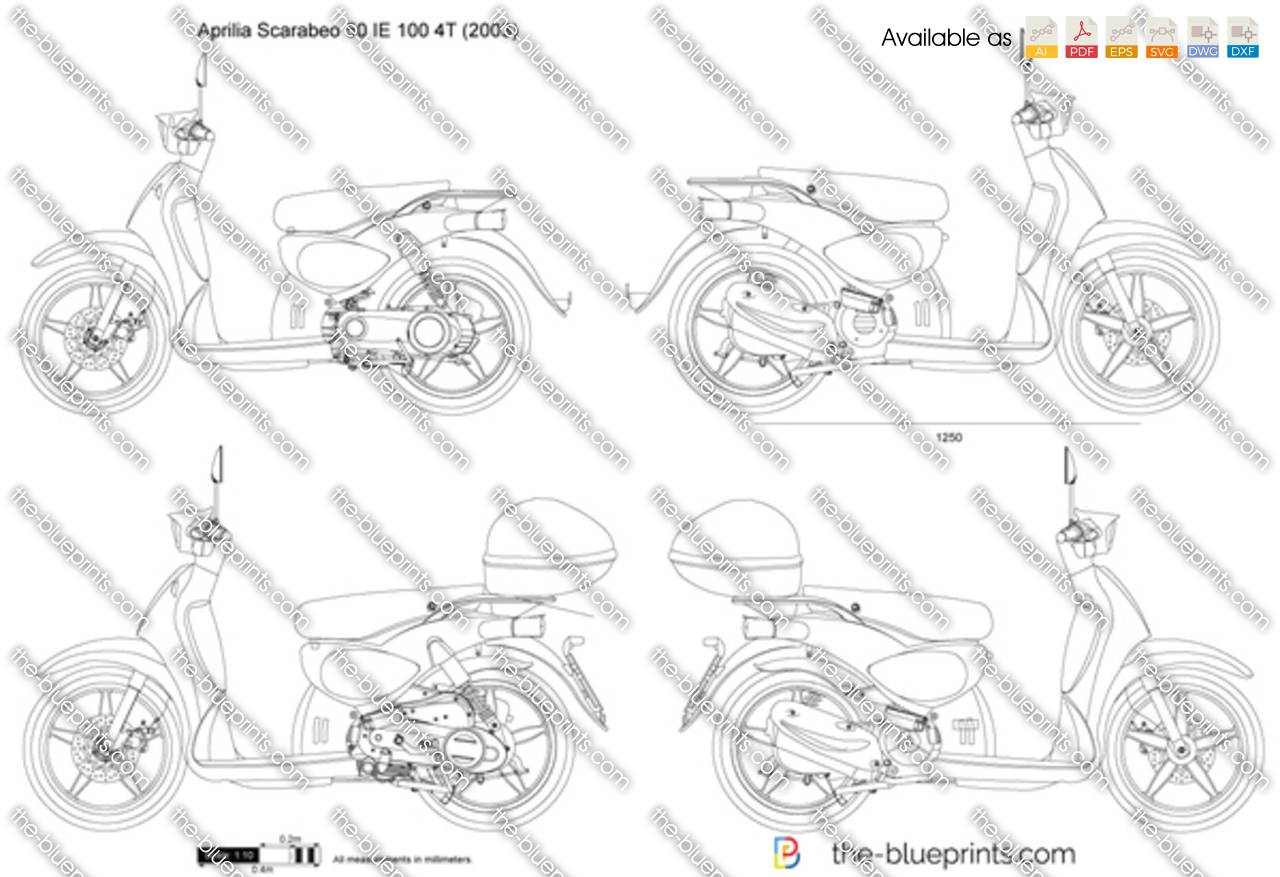 aprilia scarabeo 50 ie 100 4t vector drawing. Black Bedroom Furniture Sets. Home Design Ideas