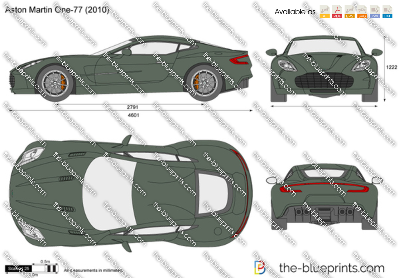Aston martin one 77 vector drawing for Where to get blueprints