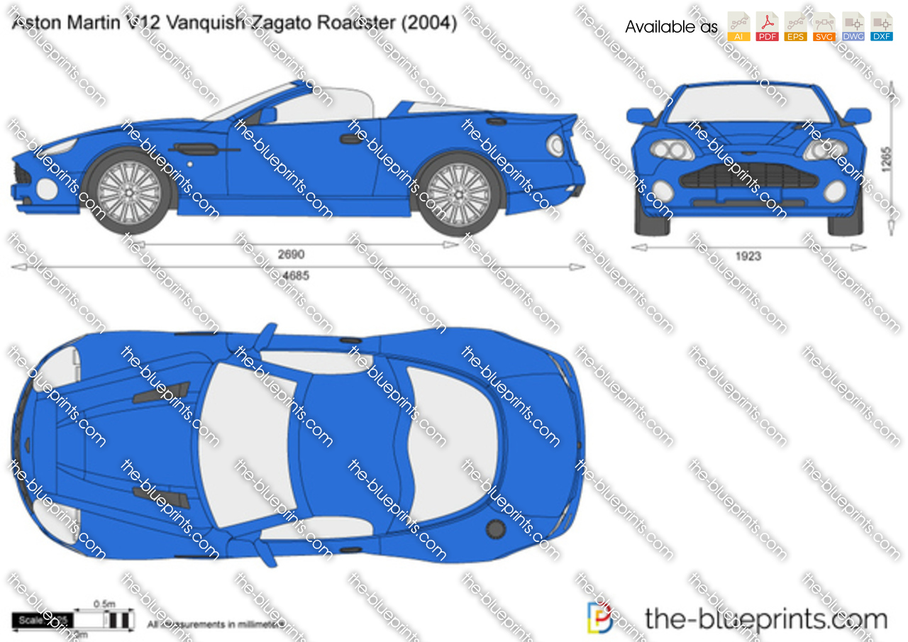Aston Martin V12 Vanquish Zagato Roadster Vector Drawing