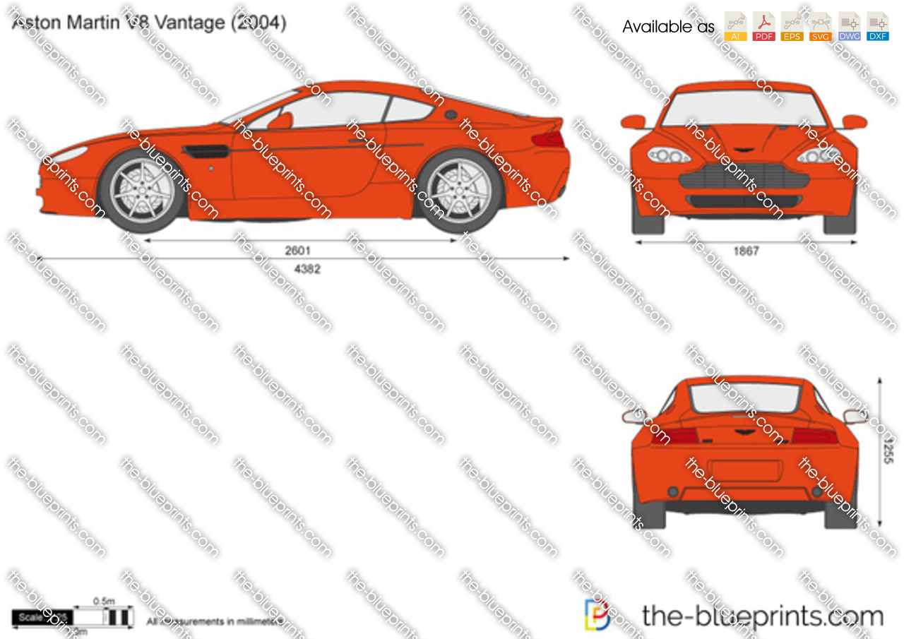 Custom Home Blueprints Aston Martin V8 Vantage Vector Drawing