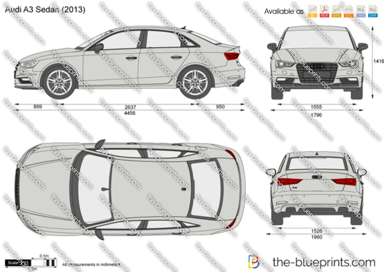 the vector drawing audi a3 sedan. Black Bedroom Furniture Sets. Home Design Ideas