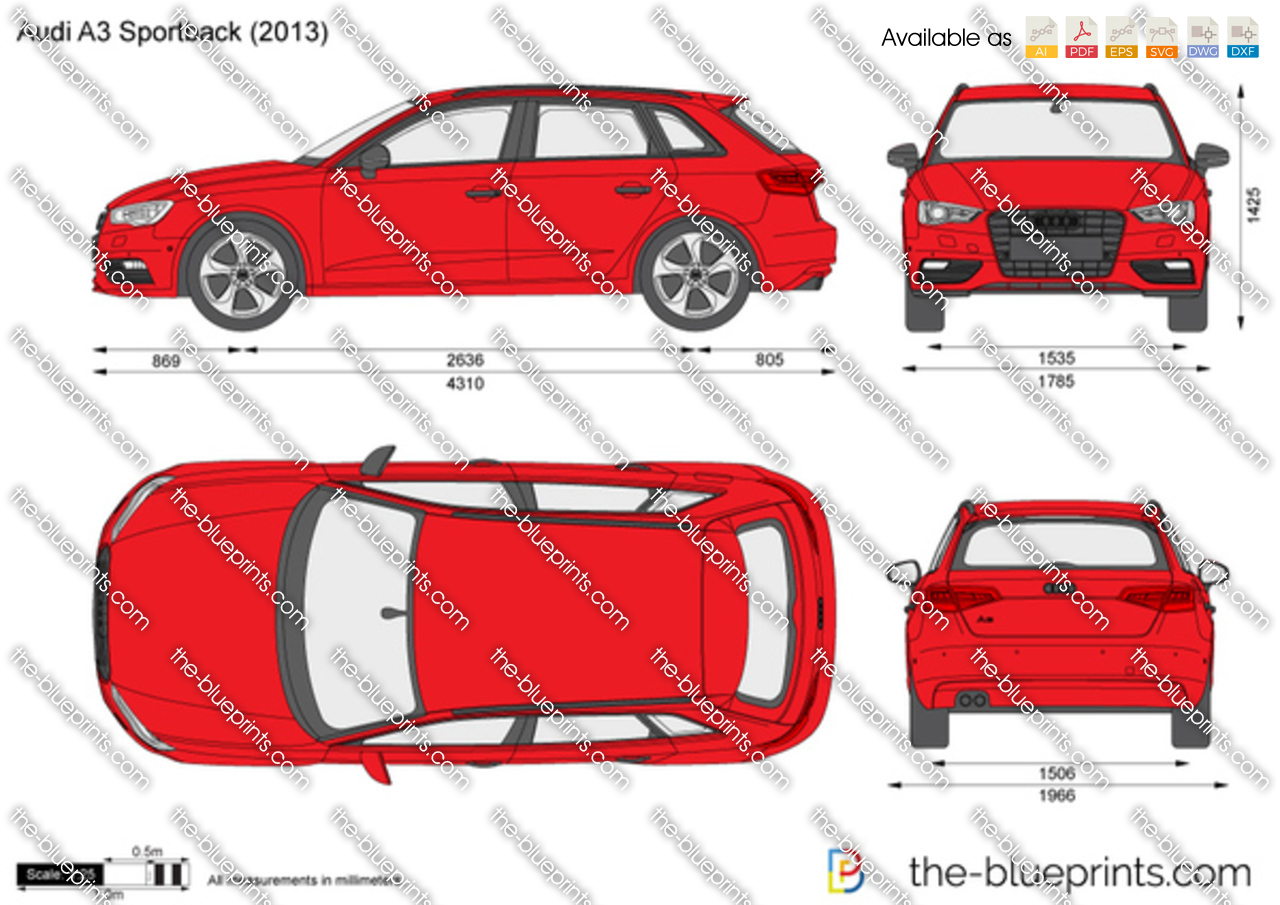 Audi A3 Sportback Vector Drawing