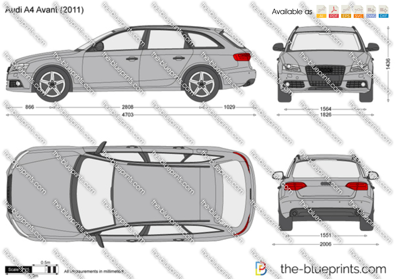 Audi A4 Avant Vector Drawing
