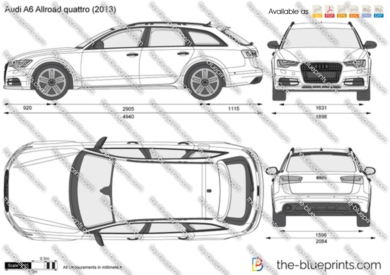 Audi A6 Allroad Quattro Vector Drawing