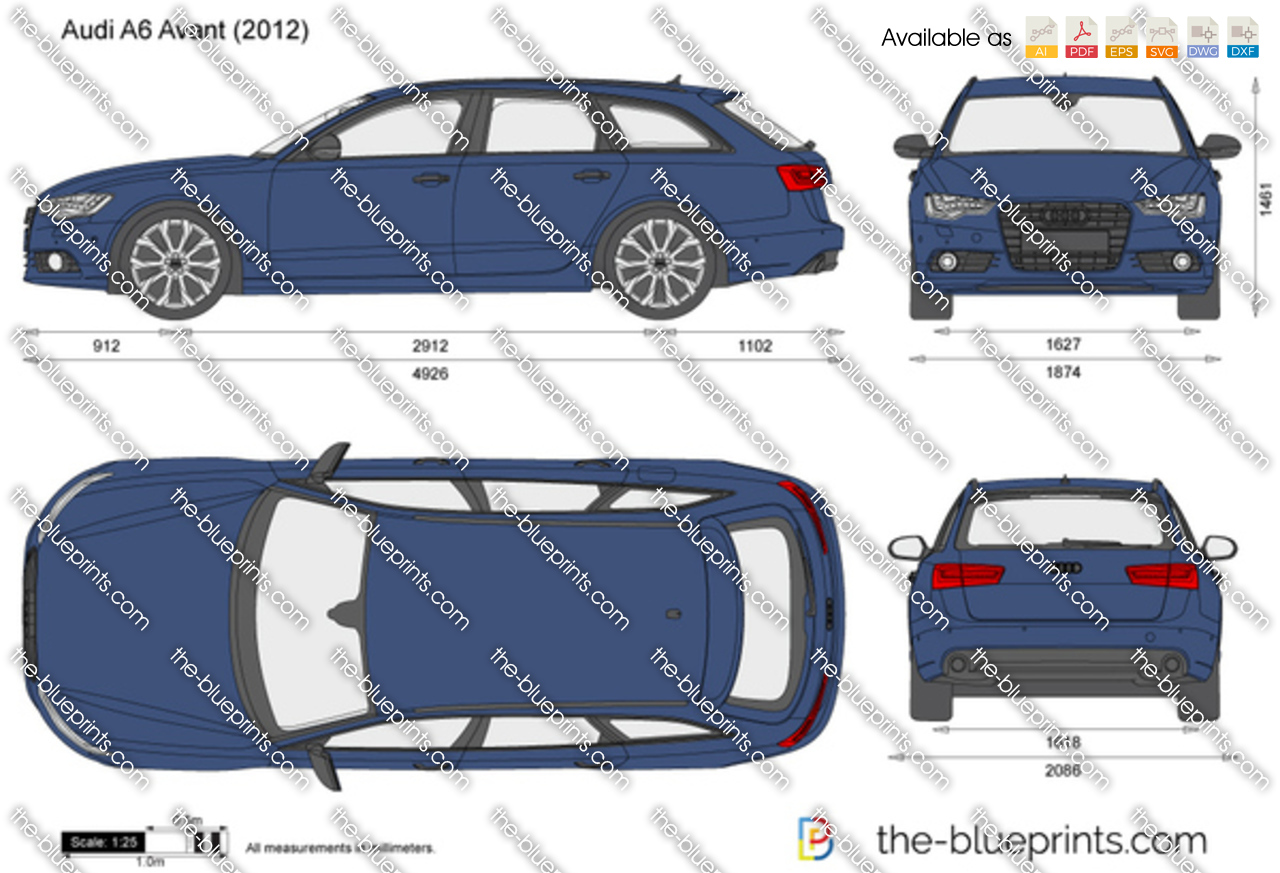 Audi A6 Avant Vector Drawing