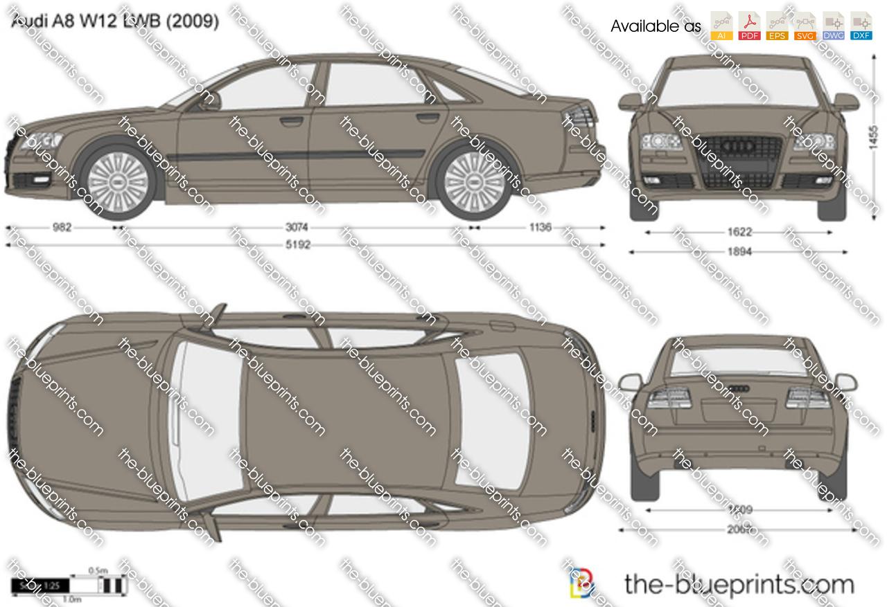 Audi A8 W12 >> Audi A8 W12 LWB vector drawing