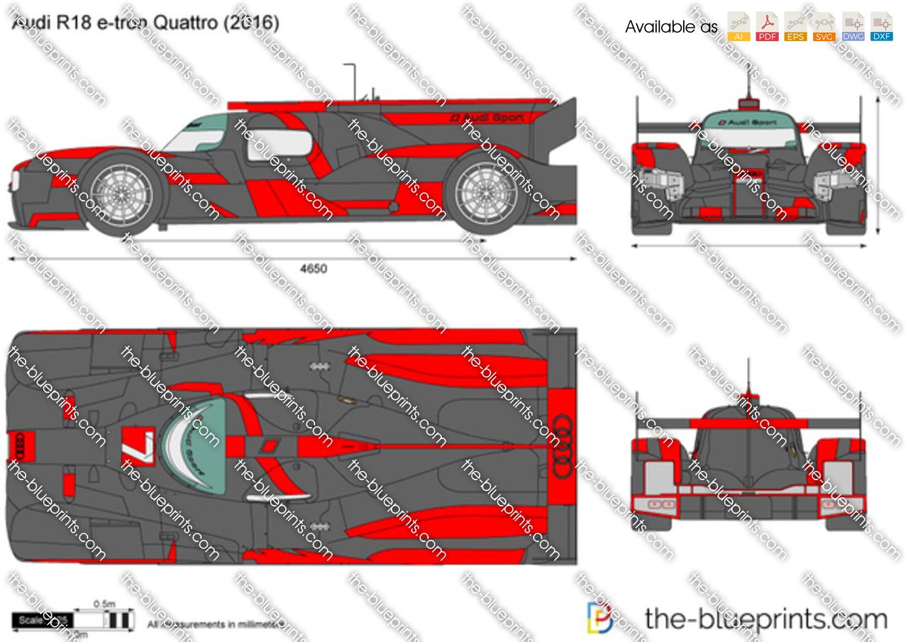 Audi R18 e-tron Quattro vector drawing