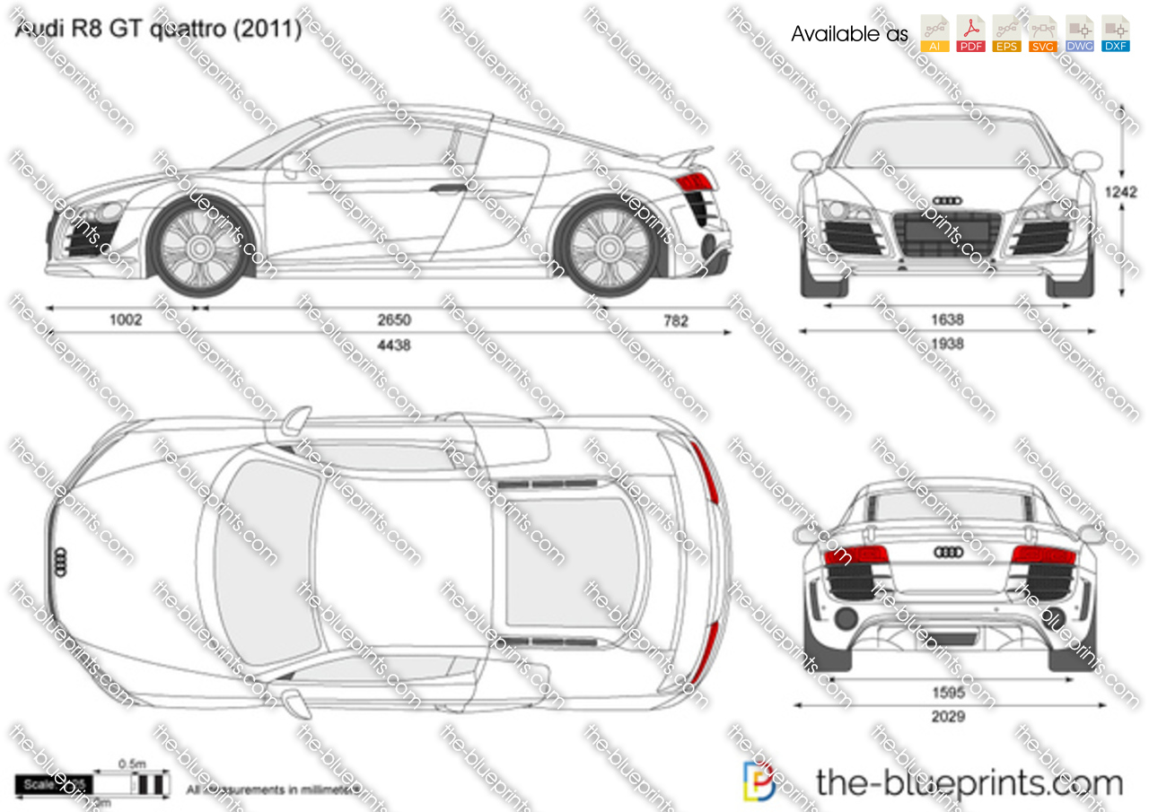 Audi R8 Gt Quattro Vector Drawing