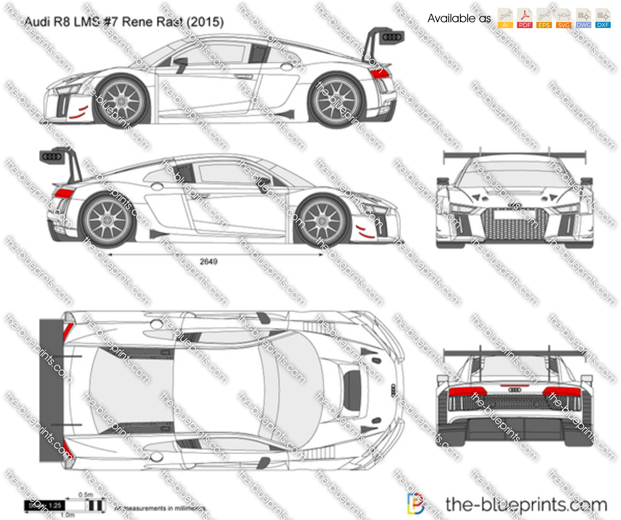 Audi R8 Lms 7 Rene Rast Vector Drawing