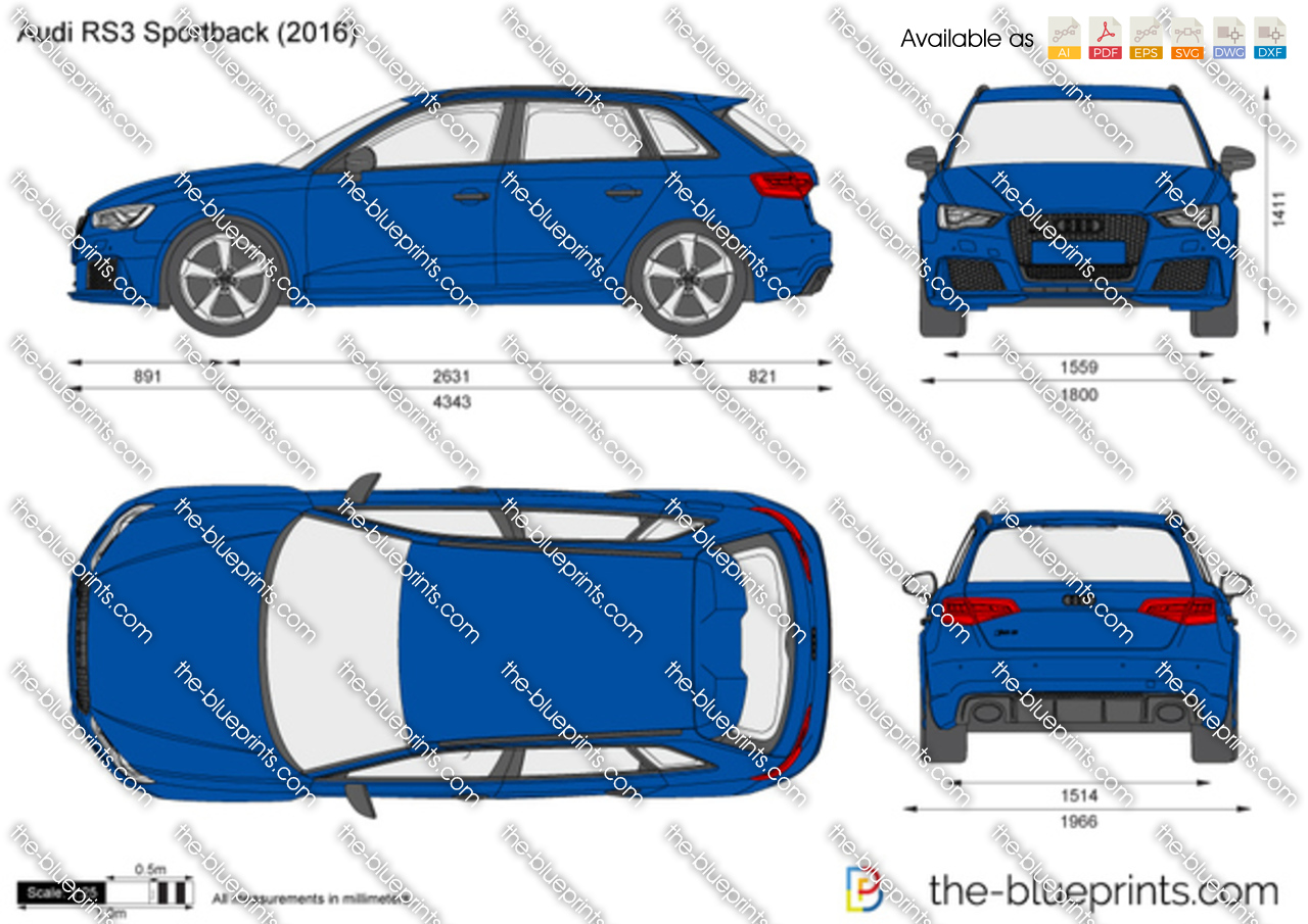Audi Rs3 Sportback Vector Drawing