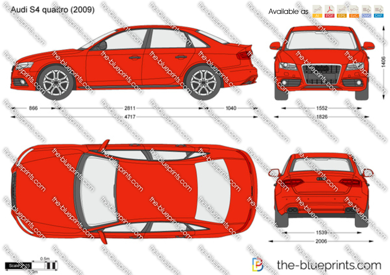 Audi S4 Quattro Vector Drawing