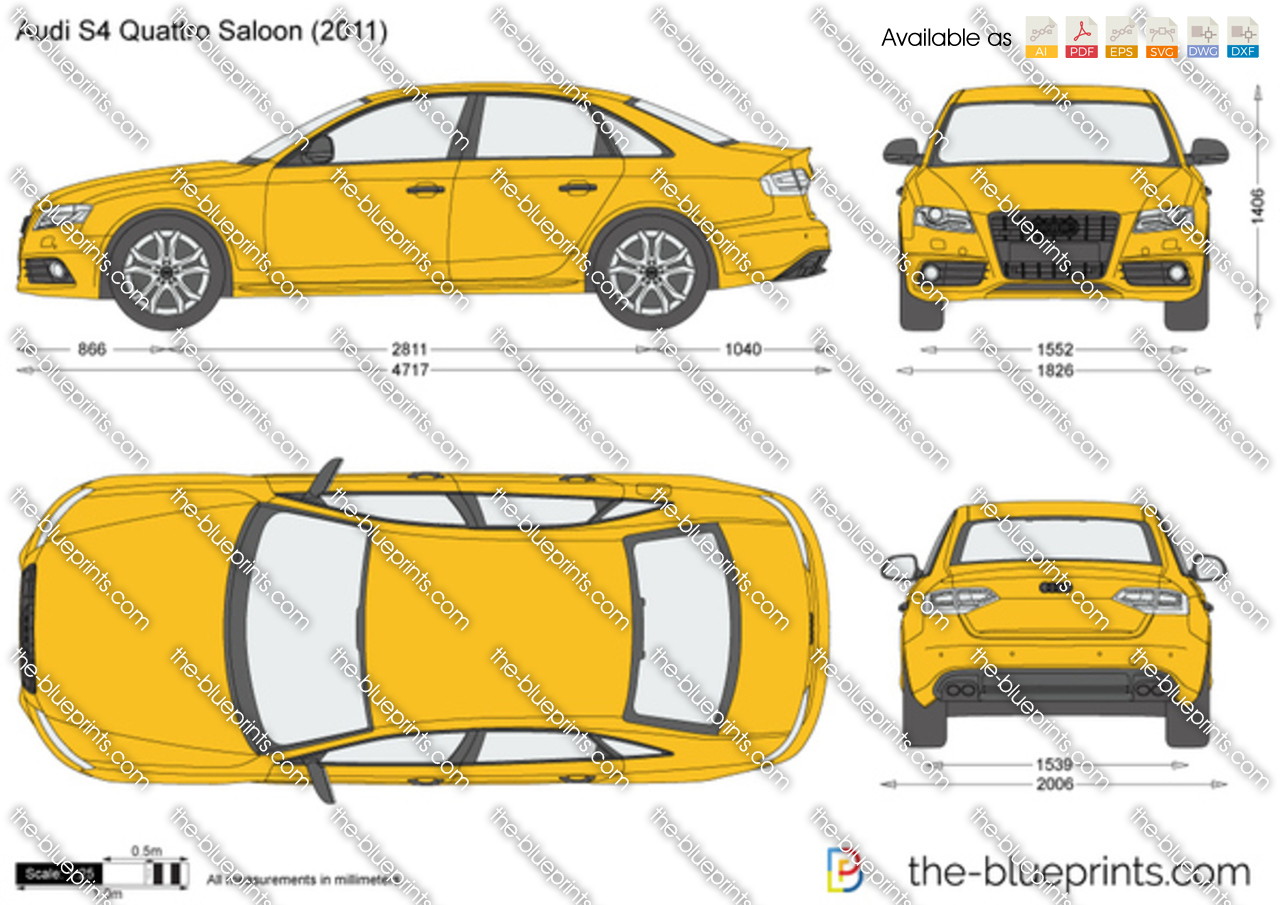 Audi S4 Quattro Saloon Vector Drawing