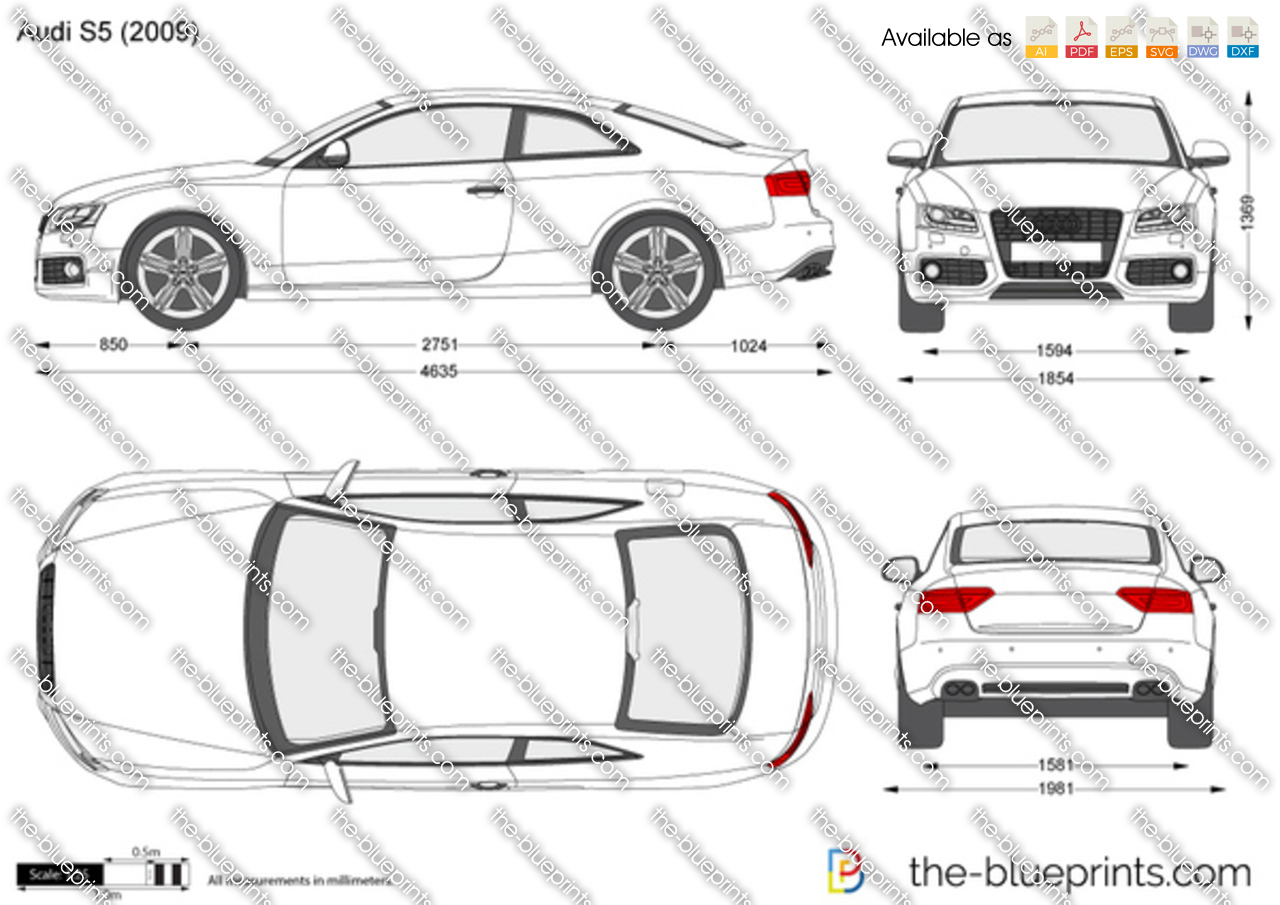 Audi S5 Vector Drawing