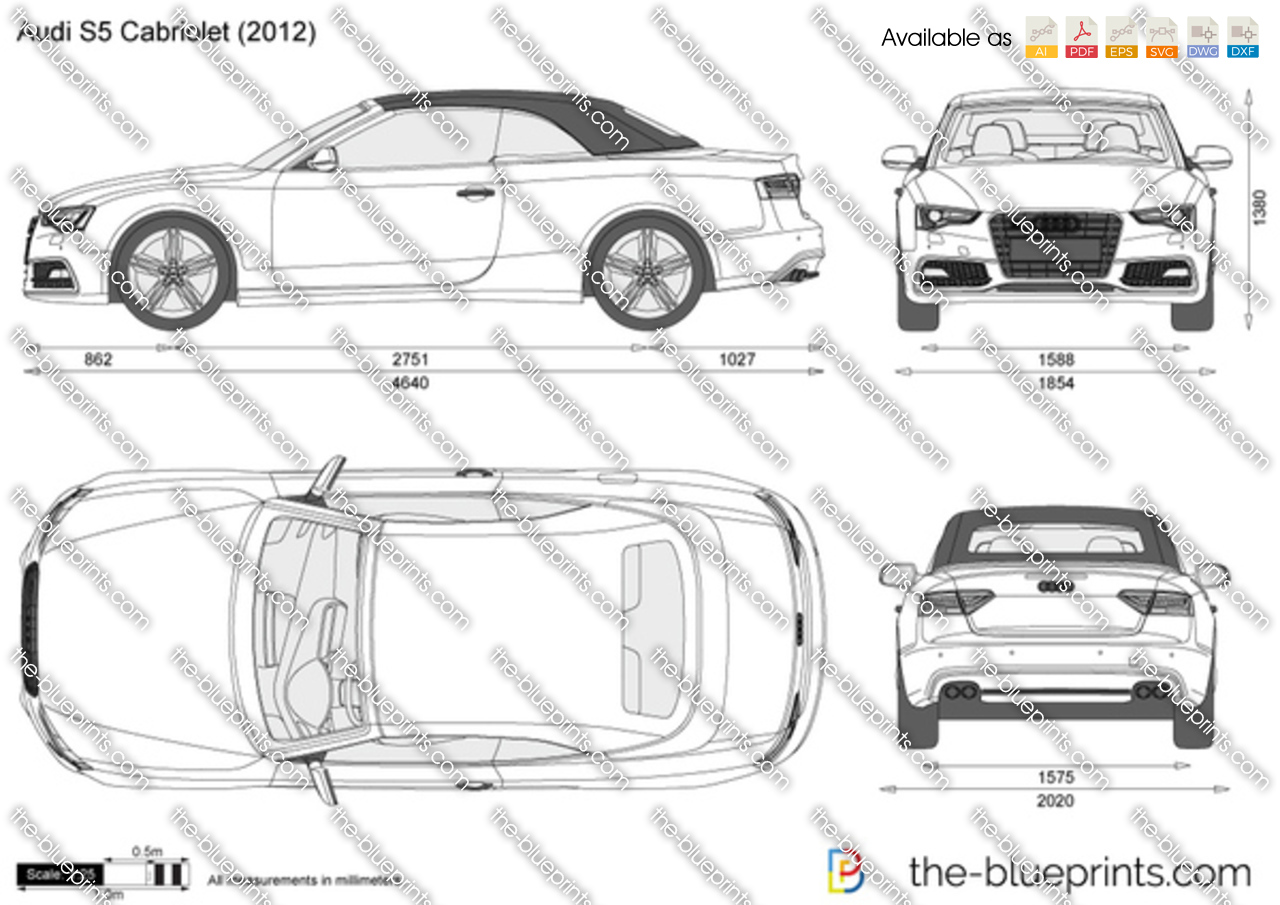 audi s5 cabriolet vector drawing
