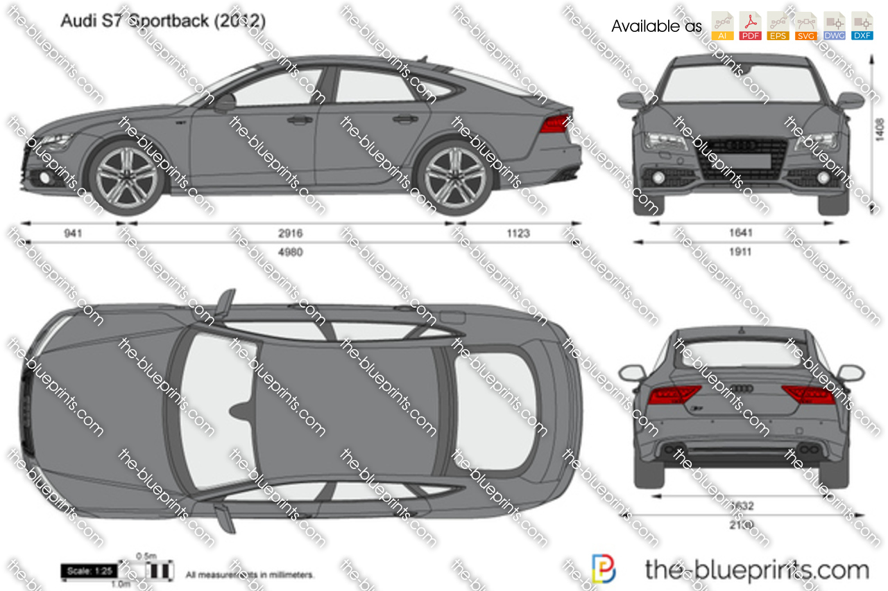 The-Blueprints.com - Vector Drawing - Audi S7 Sportback