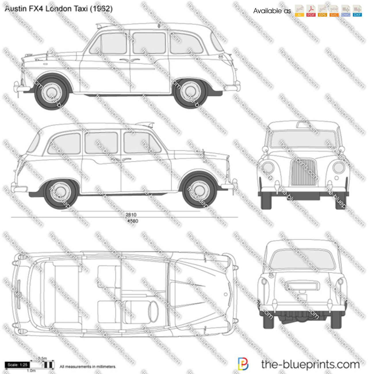 austin fx4 london taxi vector drawing