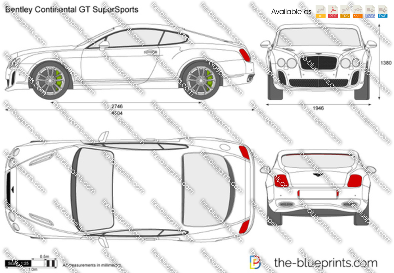 Bentley Continental Gt Supersports Vector Drawing