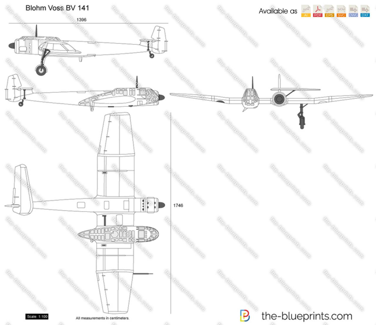 the vector drawing blohm voss bv 141. Black Bedroom Furniture Sets. Home Design Ideas