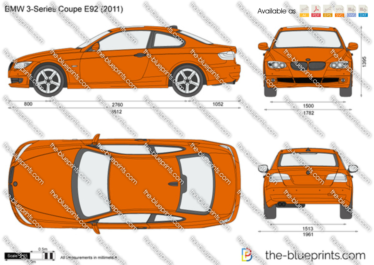 The-Blueprints.com - Vector Drawing - BMW 3-Series Coupe E92