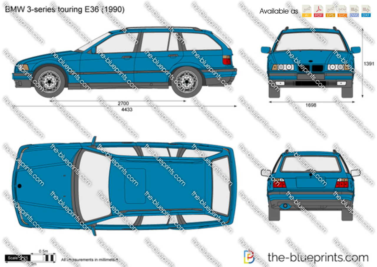 bmw 3 series touring e36 vector drawing. Black Bedroom Furniture Sets. Home Design Ideas