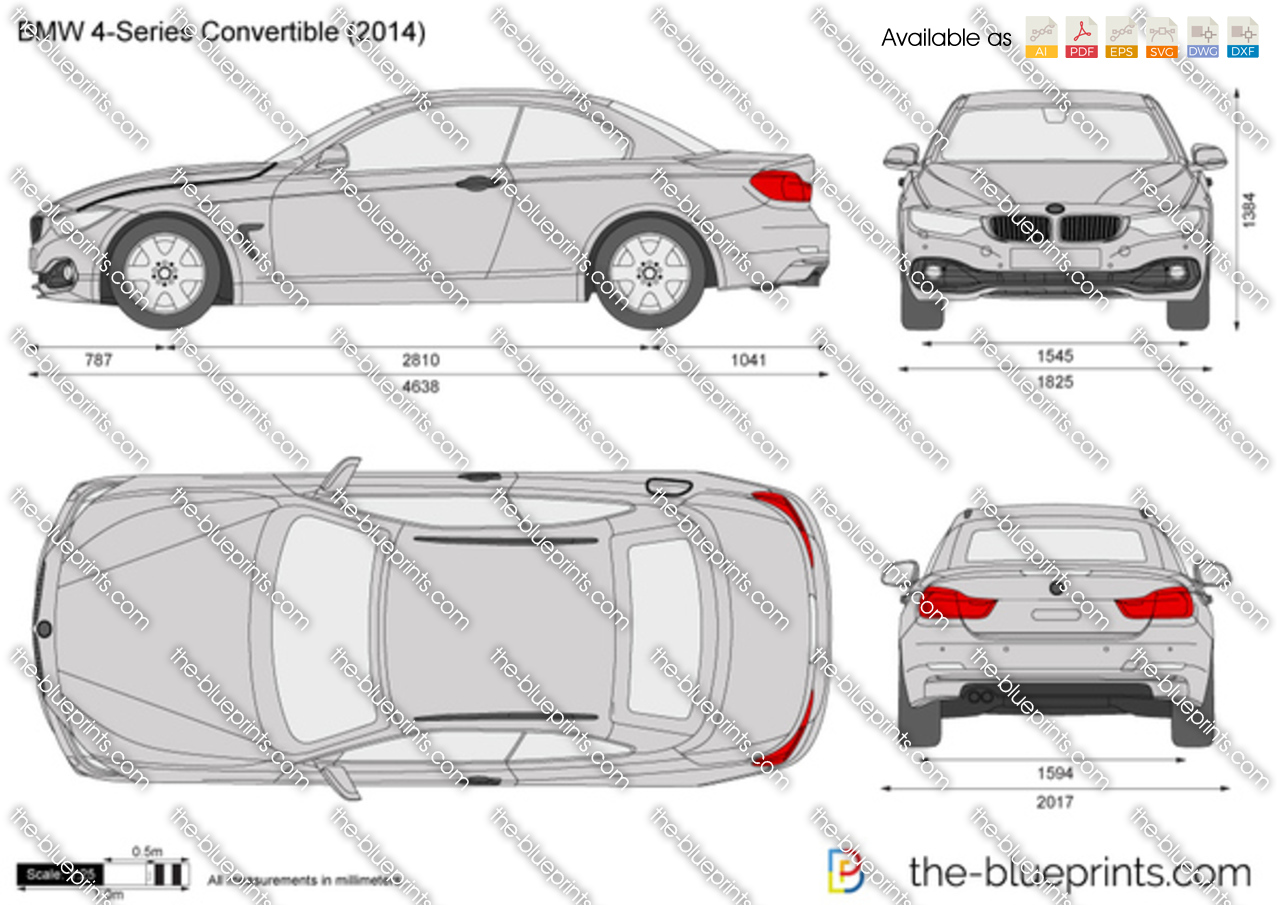 Bmw 4 Series Convertible F33 Vector Drawing