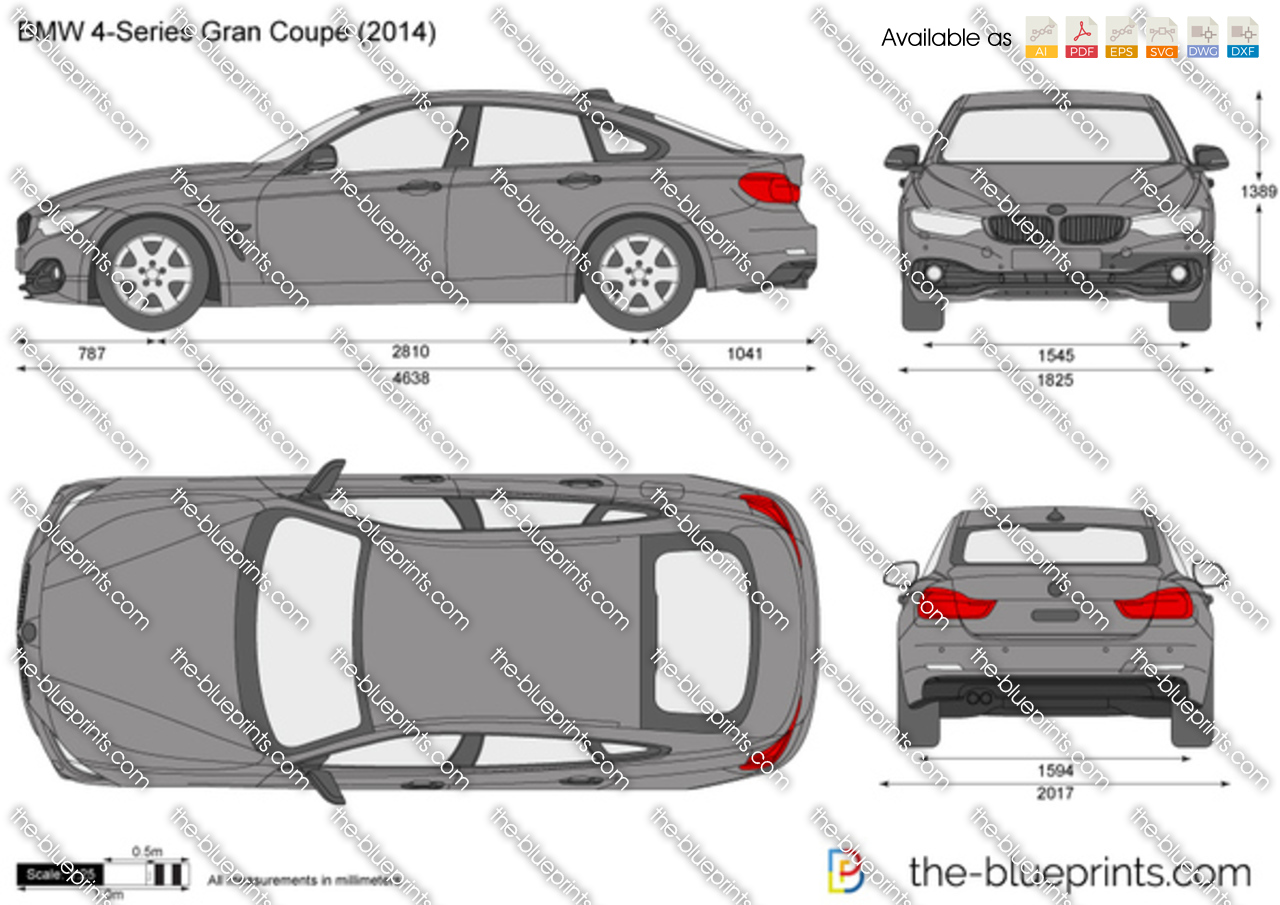Bmw 4 Series Gran Coupe F36 Vector Drawing