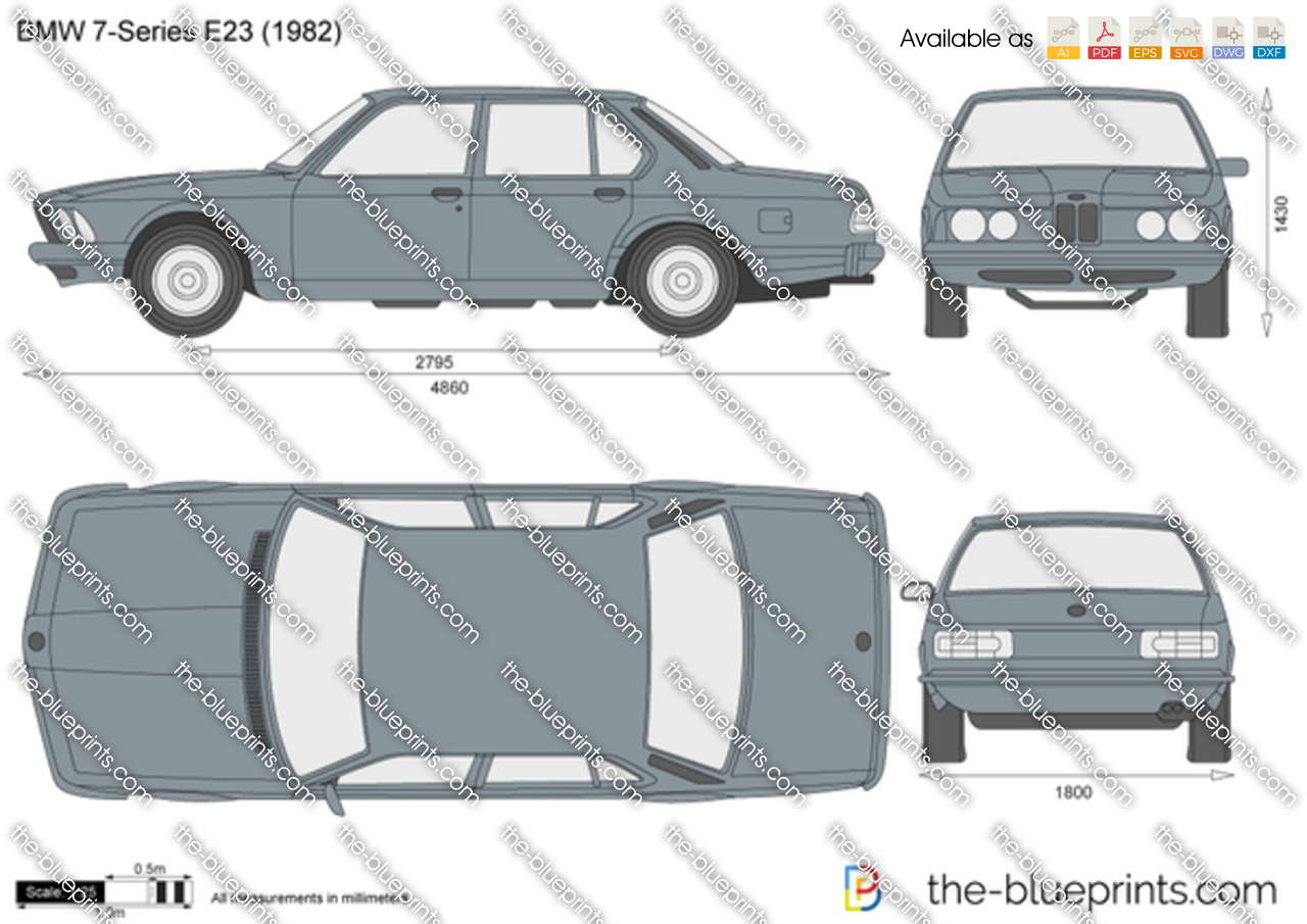 Bmw 7 Series E23 Vector Drawing
