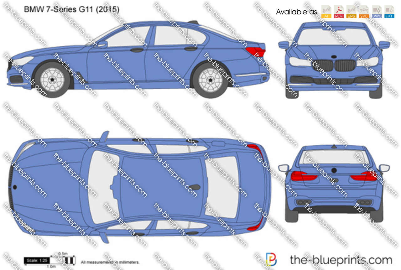 Bmw 7 Series G11 Vector Drawing
