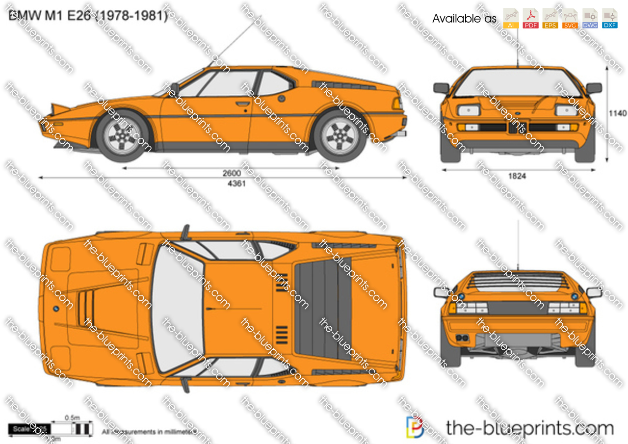 Bmw M1 E26 Vector Drawing